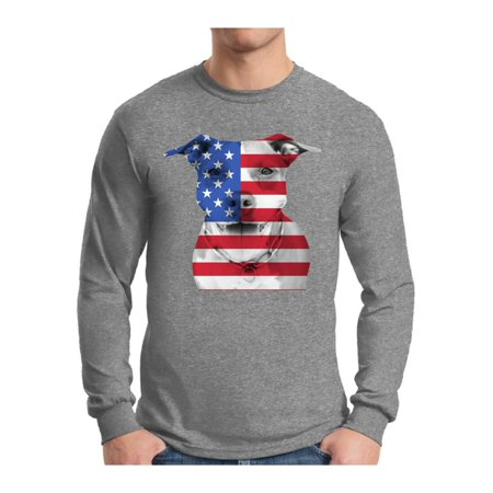 Awkward Styles Men's USA Flag Pitbull Graphic Long Sleeve T-shirt Tops American Flag Pitbull Patriotic 4th of