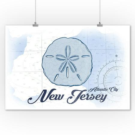 Atlantic City  New Jersey   Sand Dollar   Blue   Coastal Icon   Lantern Press Artwork  9X12 Art Print  Wall Decor Travel Poster