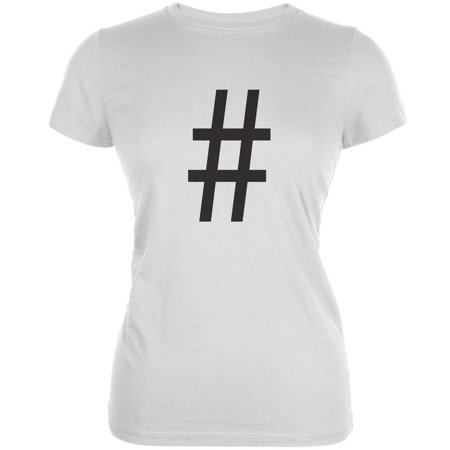 Halloween Hashtag White Juniors Soft T-Shirt - Cool Hashtags For Halloween
