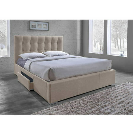 Baxton studio sarter contemporary grid tufted fabric for Upholstered bed with drawers