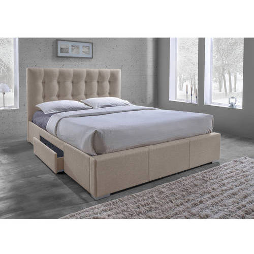 Baxton Studio Sarter Contemporary Grid-Tufted Fabric Upholstered Storage King-Size Bed with 2 Drawers