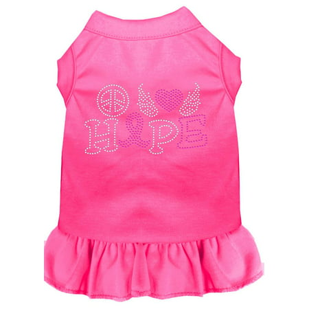 Peace Love Hope Breast Cancer Rhinestone Pet Dress Bright Pink 4X (22) for $<!---->
