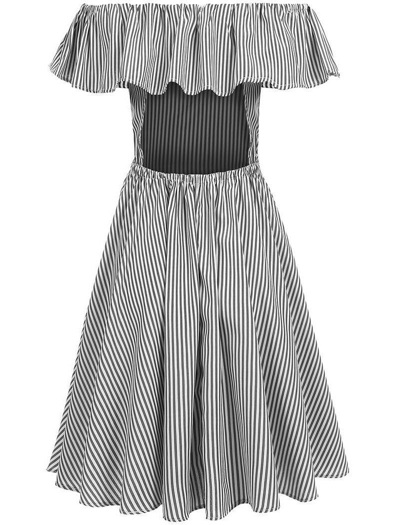 0946037e5c1e Short Sleeve Fashion Sexy Lady Women Summer Casual Off Shoulder Striped  Ruffle Pleated Dress 5 sizes - Walmart.com