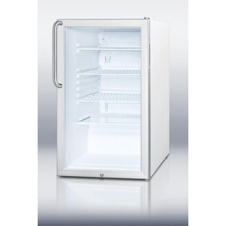 SCR450L7TB 20 Commercially Listed Compact Refrigerator With 4.1 cu. ft. Capacity  Glass Door  Factory Installed Lock  Automatic Defrost and Adjustable Shelves in Stainless Steel