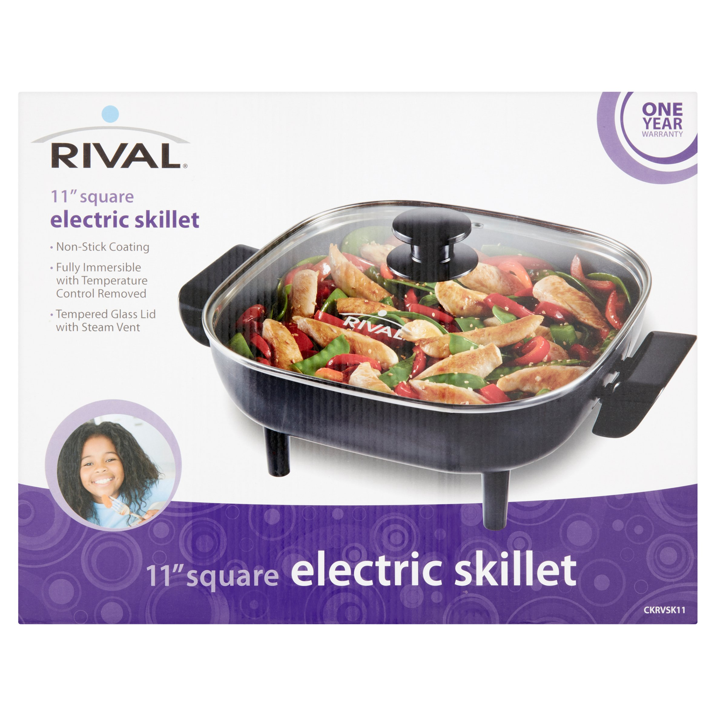 Rival 11-inch Square Electric Skillet, Cast Aluminum