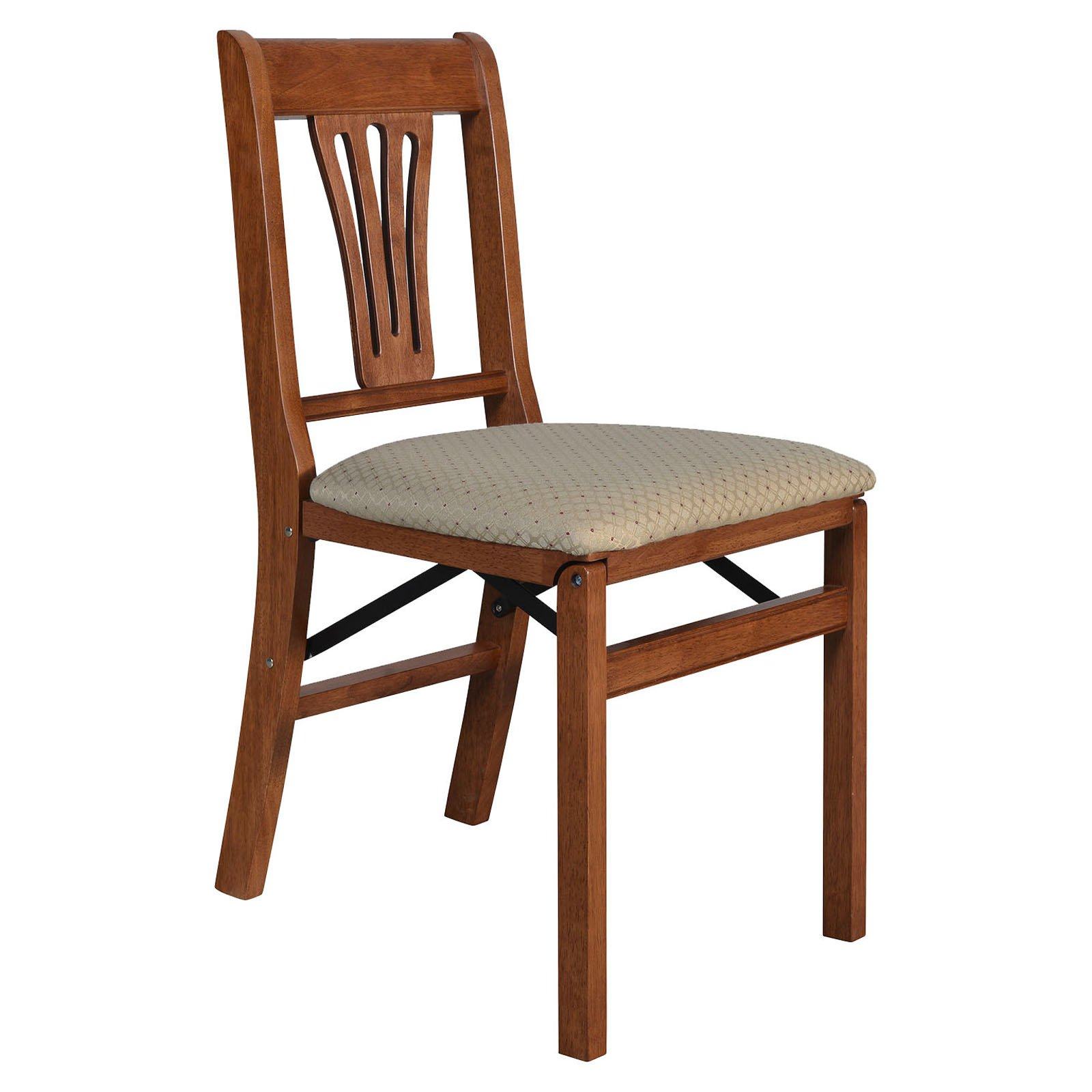 Urn Back Folding Chair in Warm Cherry Finish - Set of 2