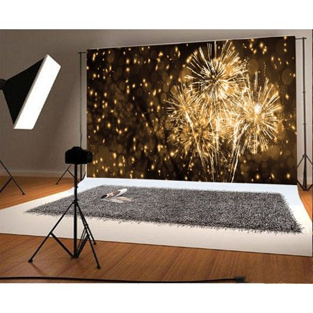 GreenDecor Polyester Fabric 7x5ft Photography Backdrop Happy New Year Celebration Holiday Color Fireworks Boken Scene Photo Background Children Baby Adults Portraits Backdrop (Scene Backdrops)