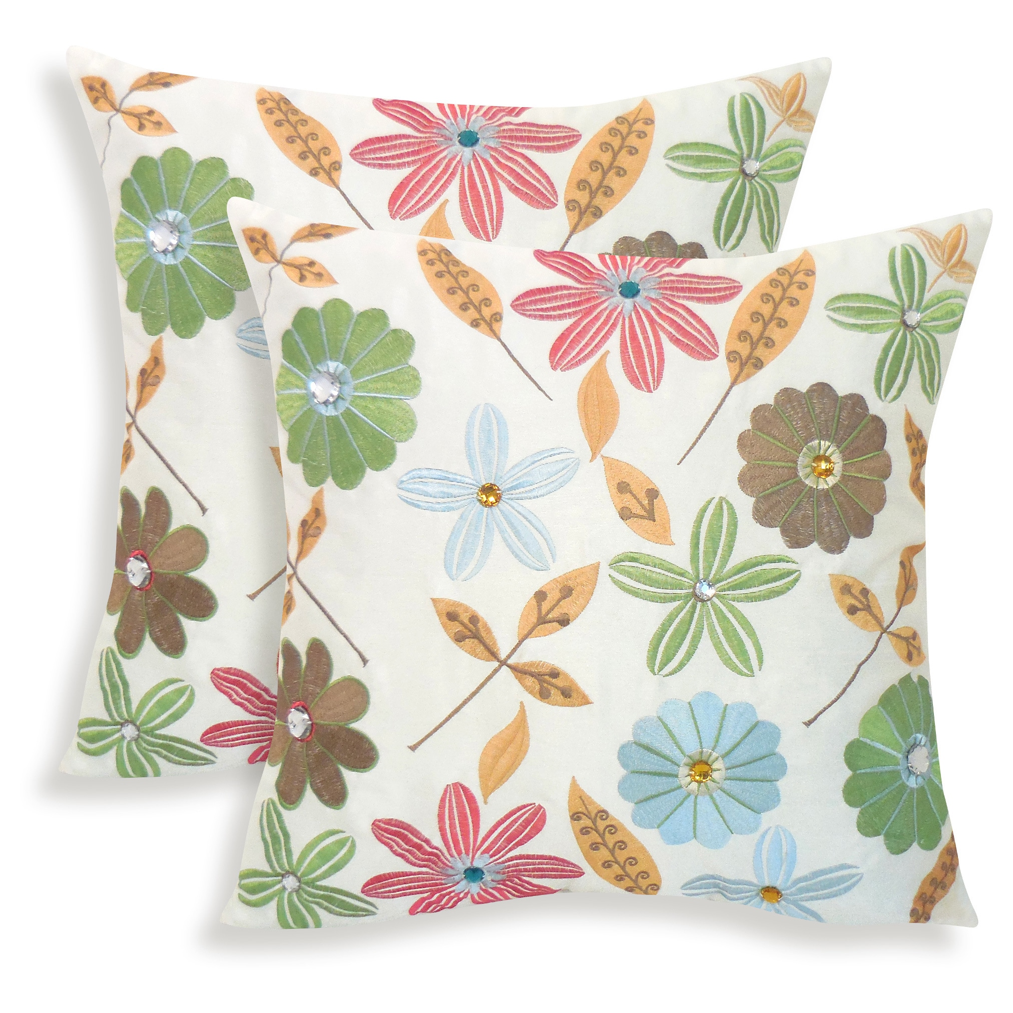 Arlee Milena Embroidered Jewel 18-inch Toss Pillow (Set of 2)