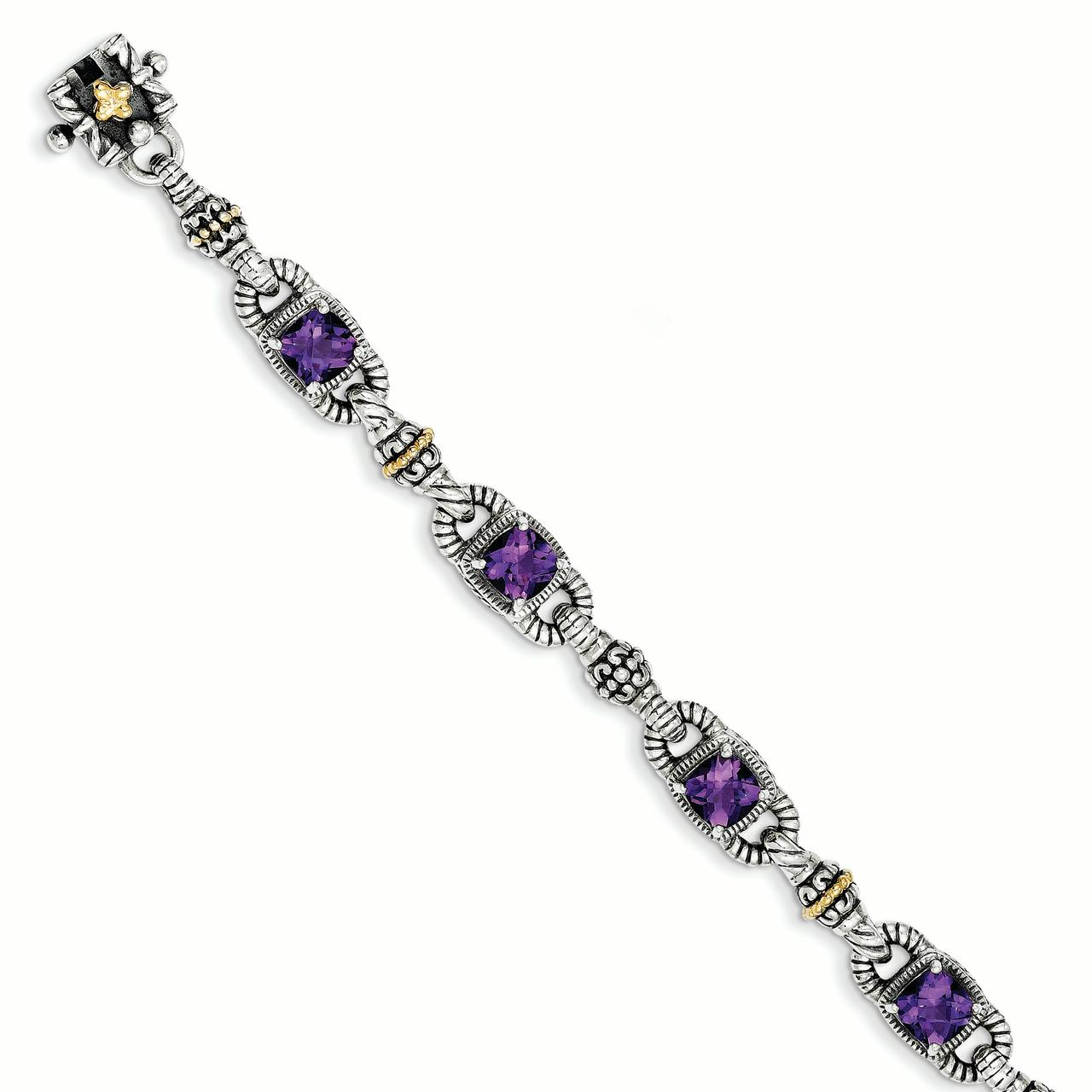 14k  Silver Two-Tone w  Amethyst Antiqued Bracelet by