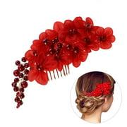 Fashion Pearl Rhinestone Wedding Hair Clip Pin Comb Leaf Flower Women Hair Jewlery (Red)