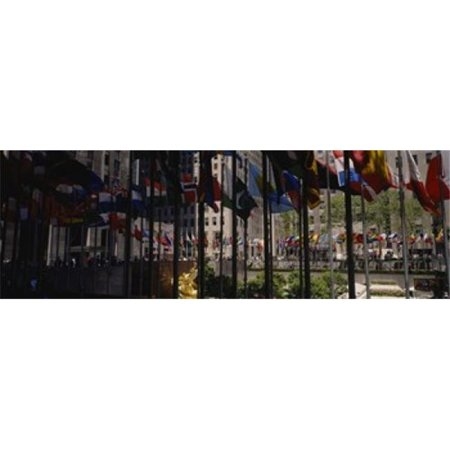 Flags in a row  Rockefeller Plaza  Manhattan  New York City  New York State  USA Poster Print by  - 36 x (Prada City)