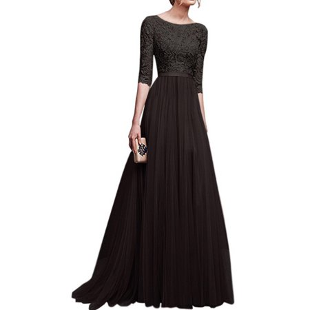 Women Evening Party Prom Wedding Bridesmaid Ball Gown Long Maxi Dress Ladies Casual Half Sleeve Floral Lace Dress Long Sleeve Lace Dress
