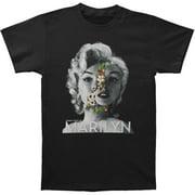 Marilyn Monroe Men's  Face Flowers T-shirt Black
