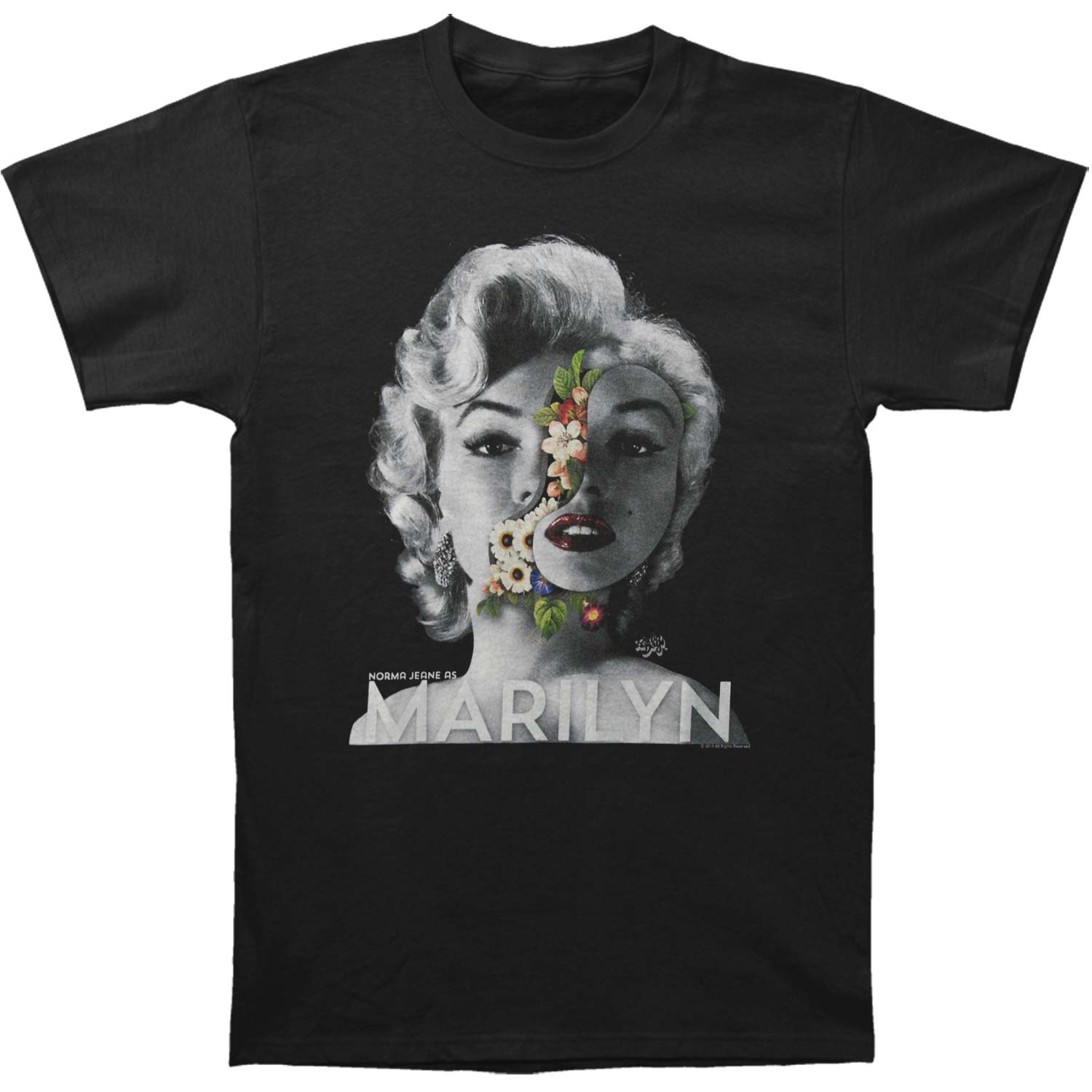 Marilyn Monroe Men's  Face Flowers T-shirt Black
