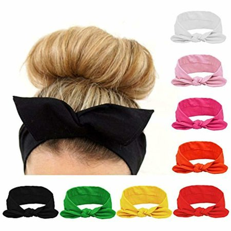 8pcs Women Headbands Turban Headwraps Hair Band Bows Accessories for Fashion Or Sport (Solid Color) - 70s Head Band