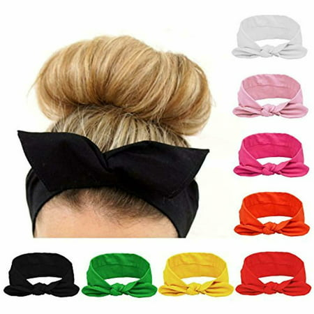 8pcs Women Headbands Turban Headwraps Hair Band Bows Accessories for Fashion Or Sport (Solid