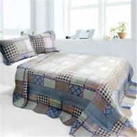 Mixed Feelings - 3 Pieces Cotton Vermicelli-Quilted Printed Quilt Set  Full & Queen Size - Multicolor