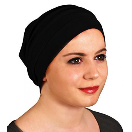 Tennis White Hat (Slouchy Turban Hat – Chemo Cap for Cancer Patients Comfort Luxury Design Ultra Durable Soft Blend Material-Black )