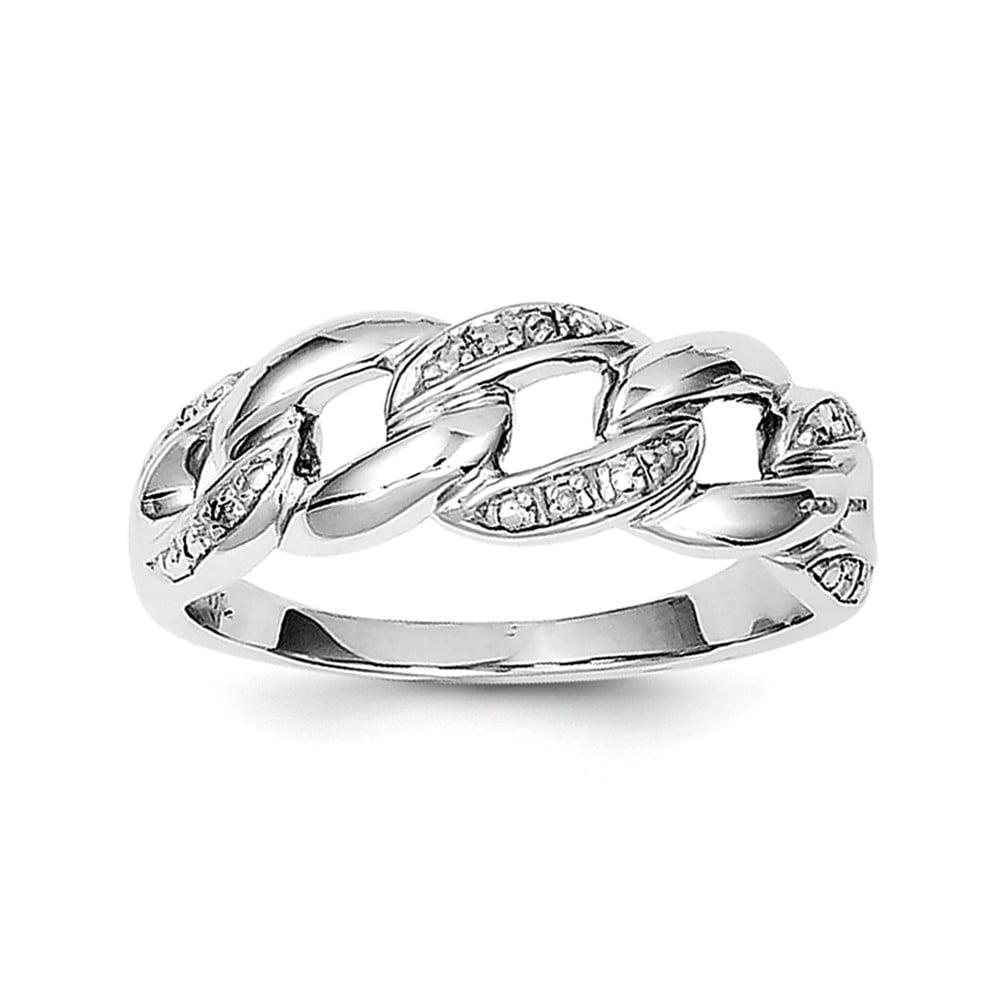 Sterling Silver Rhodium Plated Diamond Ring