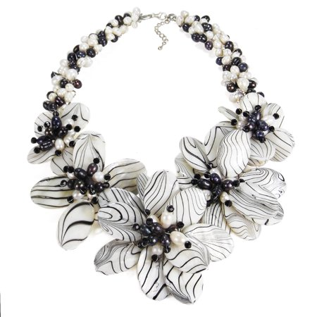 Modern Floral Hand Painted Mother of Pearl and Cultured Freshwater Pearls Necklace Cultured Freshwater Pearl Floral Design