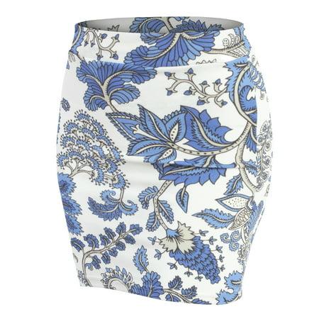 52b4ecb89cd Doublju - Doublju Women s Elastic Waist Stretch Bodycon Pencil Mini Skirt  WHITEBLUE 2XL Plus Size - Walmart.com
