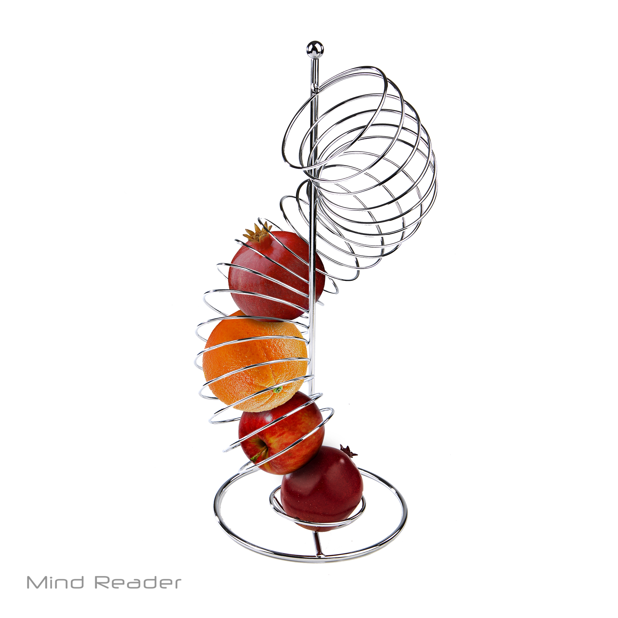 Mind Reader Stainless Steel Spiral Fruit Basket Holder, Silver