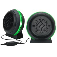 ENHANCE Gaming LED Computer Speakers with Subwoofer , Powerful 5W Drivers and In-Line Volume Control - Green Lights , USB 2.0 Powered , 3.5mm Connection for PC , Desktop , Laptop , Notebook