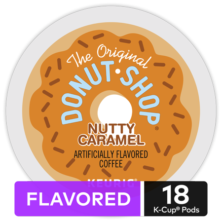 The Original Donut Shop Nutty Caramel, Flavored Coffee Keurig K-Cup Pod, Medium Roast, 18 Ct (Donuts D'halloween)