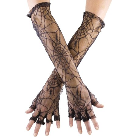 Morris Costumes Womens Spider Web Fingerless Adult Gloves Halloween Accessory](Lighted Spider Webs For Halloween)