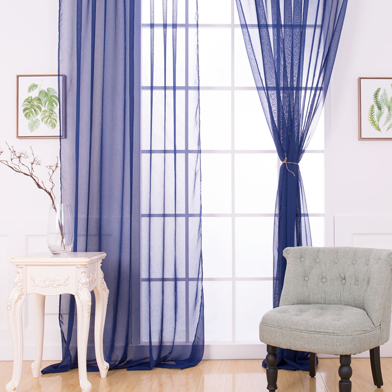 Home High Thread Rod Pocket Sheer Voile Curtain Panel Window Curtains Royal Blue