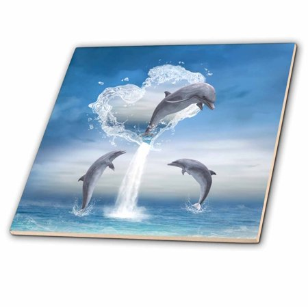 3dRose A dolphin jumps out of a water heart into the ocean - Ceramic Tile, 4-inch
