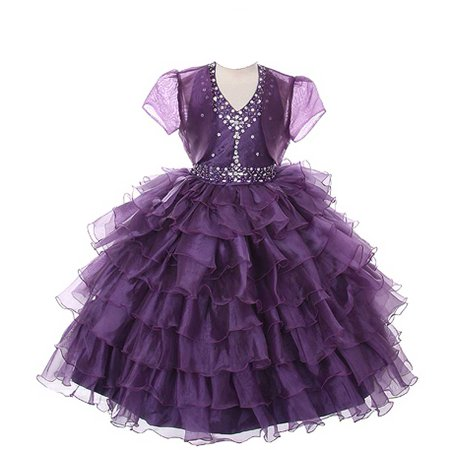 Dress Coat Girls (Rain Kids Girls 10 Plum Jeweled Halter Pageant Dress Sheer)