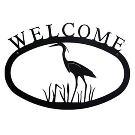 Village Wrought Iron WEL-133-L Large Heron Welcome Sign