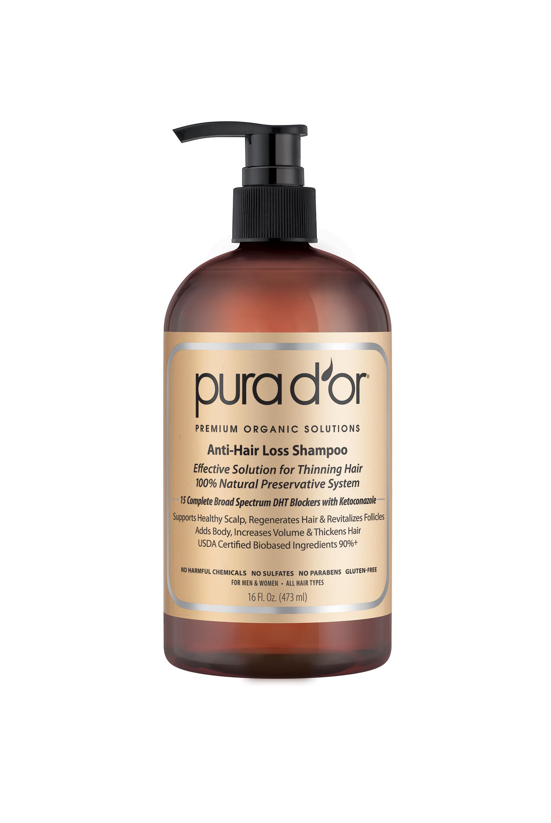 Pura D'or Premium Organic Anti-Hair Loss Shampoo, 16 Fl Oz