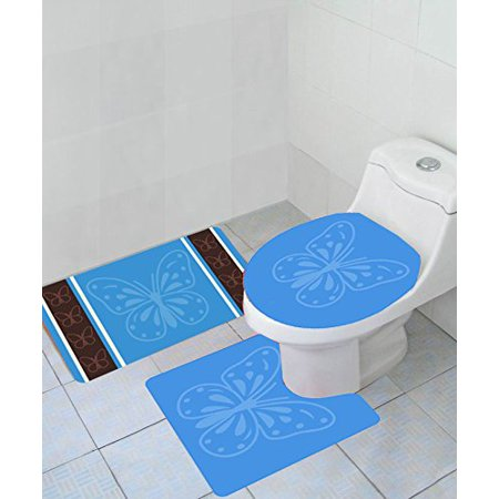 Empire Home Thick 3 Piece Butterfly High Pile Bathroom Set With Bath Mat Rug And Toilet Seat Cover -