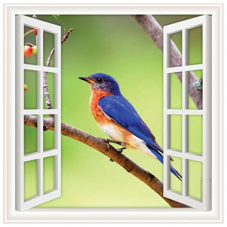 Window Views Peel & Stick Wall Decal: Blue Bird (12 in x 12 in) (Bird Window Strike Decals)
