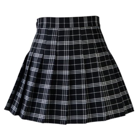 Women Casual Plaid Skirt Girls High Waist Pleated Skirt A-line School Skirt Uniform With Inner Shorts - School Girl Plaid Skirt