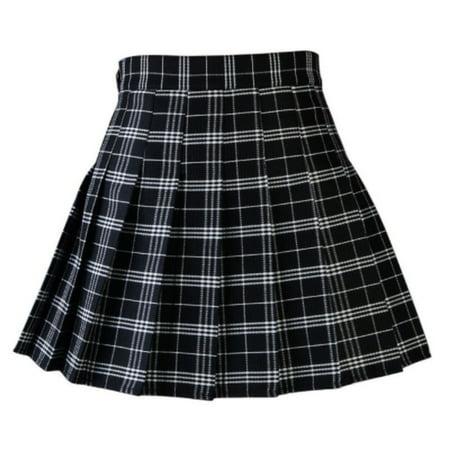 Women Casual Plaid Skirt Girls High Waist Pleated Skirt A-line School Skirt Uniform With Inner Shorts - Schoolgirl Skirt