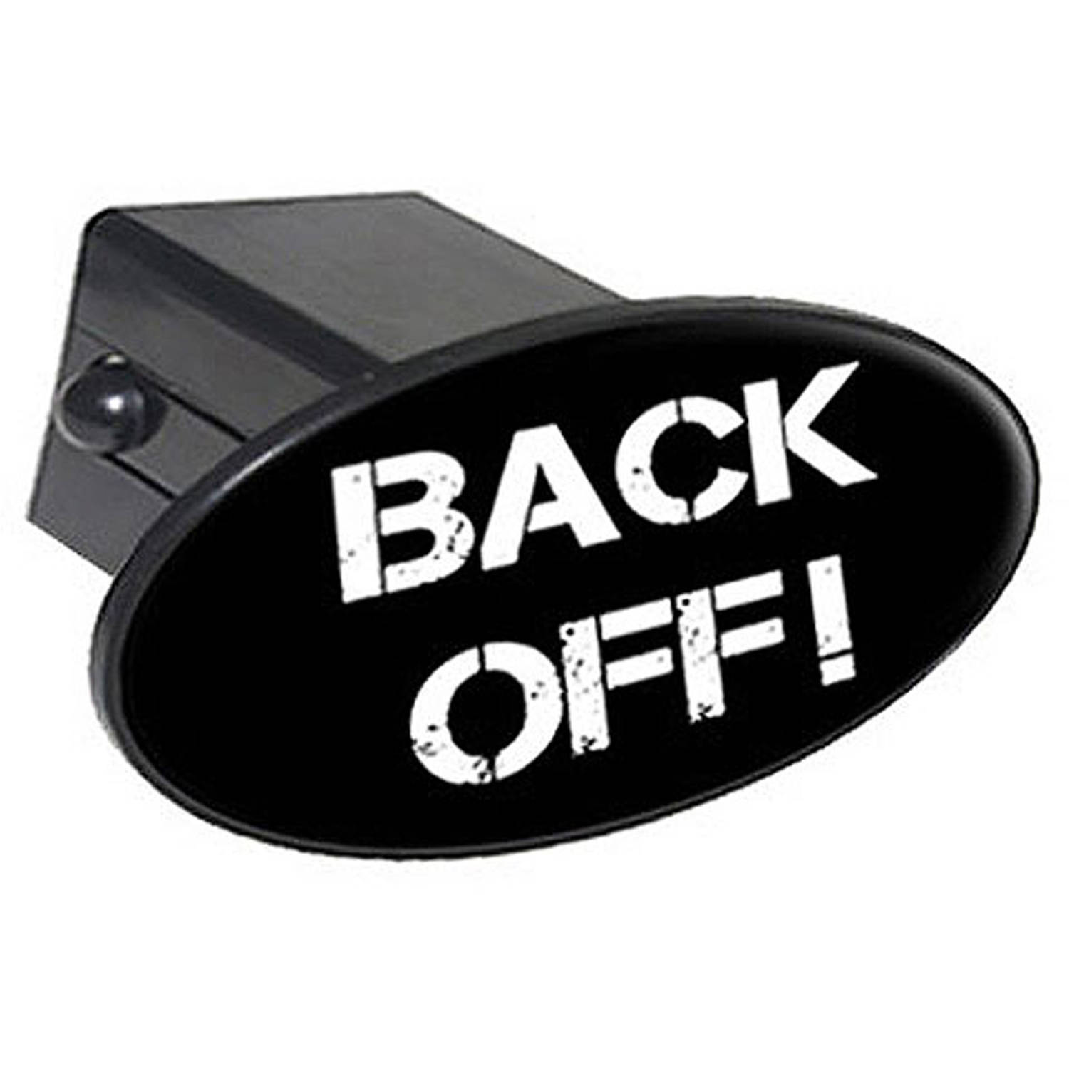 "Back Off, No Tailgating 2"" Oval Tow Trailer Hitch Cover Plug Insert"