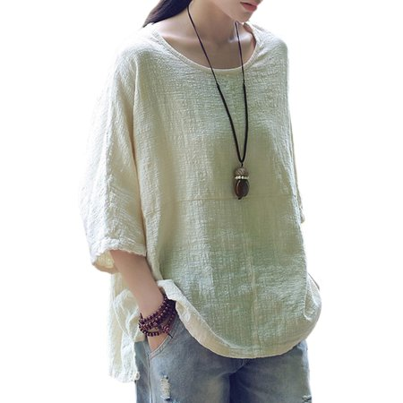 White Linen Blouse (Womens 3/4 Sleeve Cotton Linen Plain Casual T-Shirt Tops Blouses Plus)
