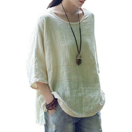 Womens 3/4 Sleeve Cotton Linen Plain Casual T-Shirt Tops Blouses Plus -