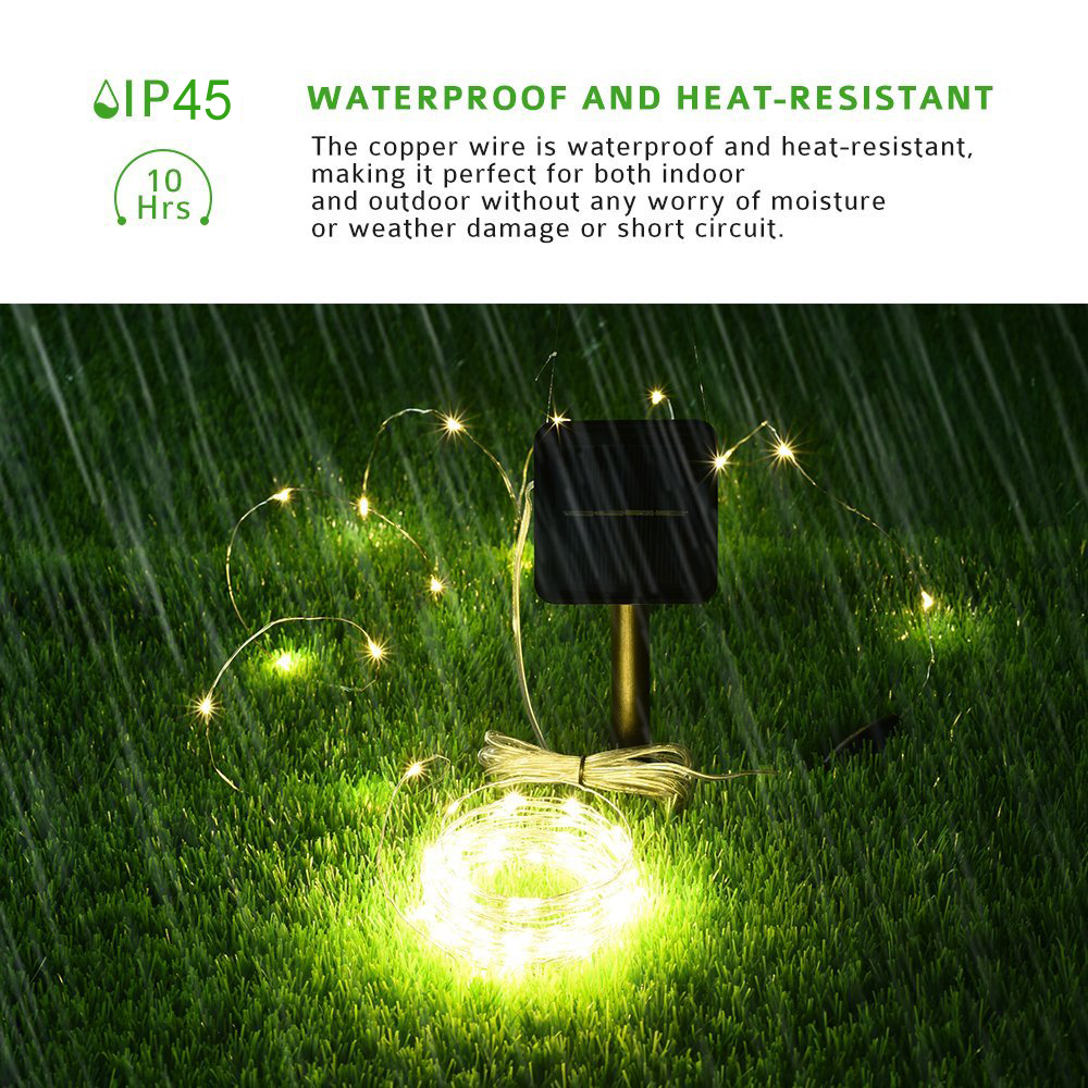 Kohree Solar Powered String Light 120 Micro Leds 20ft Ultra Thin Wiring Exterior Garage Lights Copper Wire