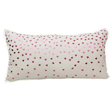 Foil Hearts Pink Decorative Cushion, 14