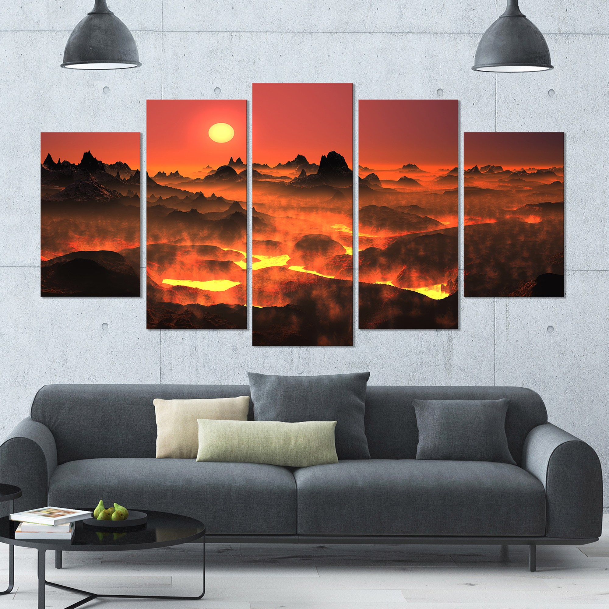 DESIGN ART Designart 'Burning Volcano Country' Landscape Canvas Wall Artwork - 60x32 5 Panels - Multi-color