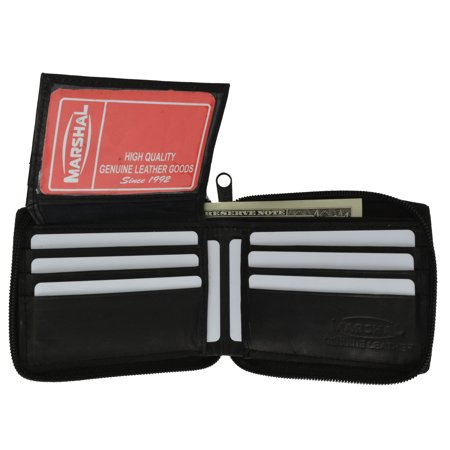 Mens Lamb Leather Zippered Bifold Flap up ID Wallet 1256 (C) Black ()