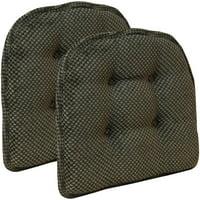 "Gripper Non Slip 15"" x 16"" Textured Tufted Chair Cushions, Set of 2"