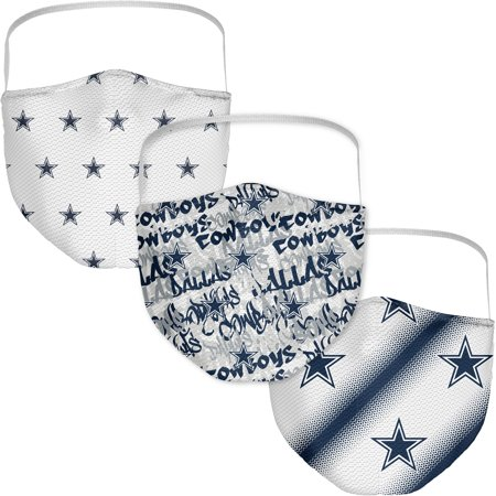 Dallas Cowboys Fanatics Branded Adult Official Logo Face Covering 3-Pack