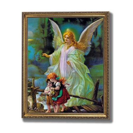 Guardian Angel Picture Frame - Guardian Angel Children On Bridge #2 Religious Wall Picture Gold Framed Art Print