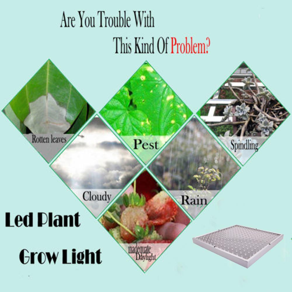 225 LED Grow Light Lamp Panel Quad-band Full Spectrum For Hydroponic ...