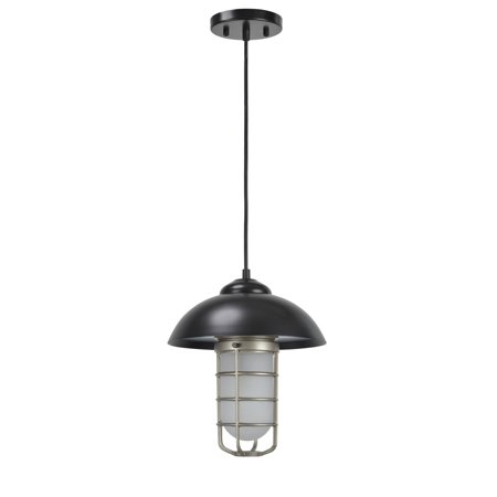 Aspen Creative 61094 Adjustable One-Light Hanging Mini Pendant Ceiling Light, Transitional Design in Matte Black Finish, Frosted Glass Shade, 3 3/8